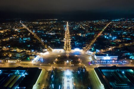 Night view of city center Kostroma with car traffic and illuminated Fire tower, Russia. Archivio Fotografico - 138046368