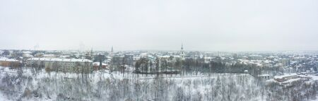 Panorama of the small town of Slobodskoy near Kirov on a winter day from above. Russia from the drone.