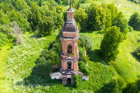 Architecture of the destroyed Orthodox Church, ruins of the Church of the Resurrection of Christ in Unzha, Kostroma region, Russia. Banco de Imagens
