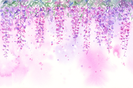 Watercolor paintings of the background of wisteria.