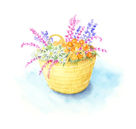 Watercolor illustration of a flower basket. Stock Photo