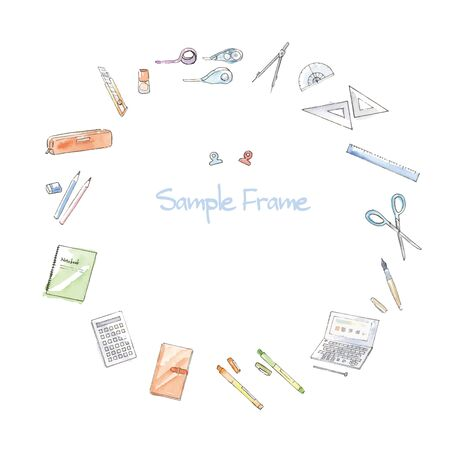 Stationery hand-painted watercolor illustration frame  イラスト・ベクター素材