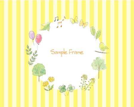 Hand-painted watercolor illustration spring frame