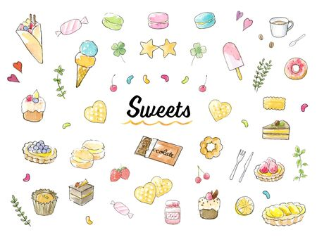 Hand-painted watercolor illustration set sweets Stock Illustratie