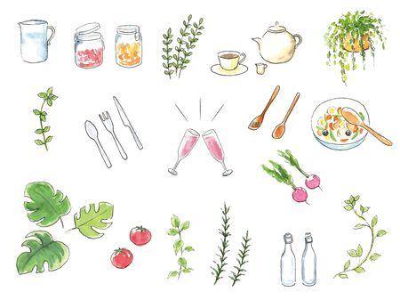 Hand-painted watercolor illustration set kitchen accessories Ilustracje wektorowe
