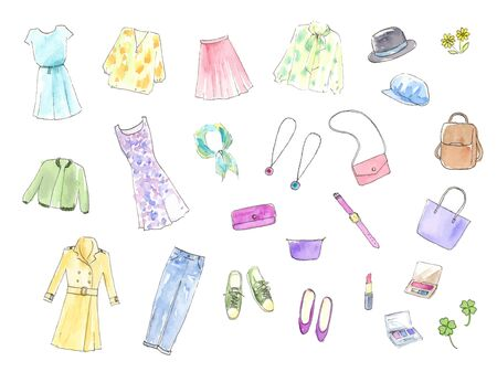 Female fashion hand-painted watercolor illustration set