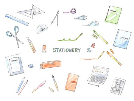 Hand-painted watercolor illustration set of stationery