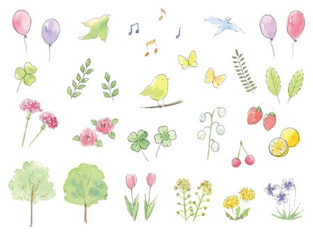 Spring hand-painted watercolor illustration set? Ilustração