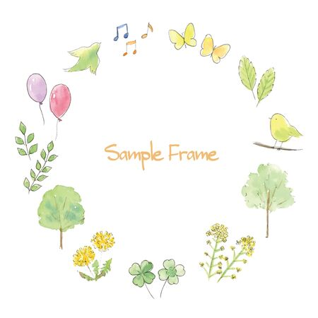 Spring Hand Painted watercolor illustration frame