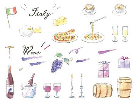 Ensemble d'illustrations à l'aquarelle peintes à la main vin et italien
