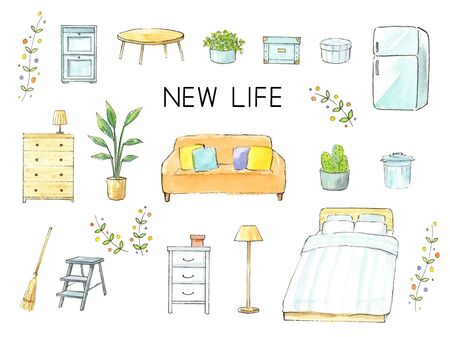 New Life Watercolor Illustration set