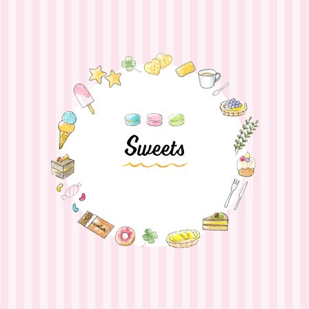 Watercolor Illustration frame of sweets