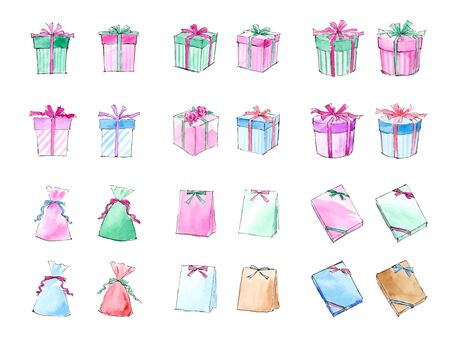 Gift Box Watercolor Illustration Set