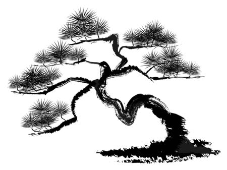 Ink painting illustration of a pine tree Stockfoto - 128481943
