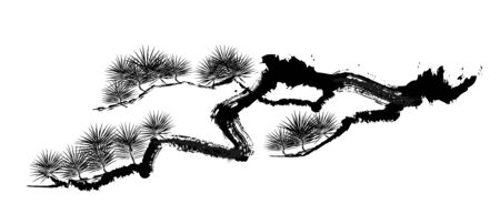 Ink painting illustration of a pine tree