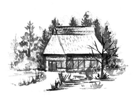 Ink painting of thatch-roofed house.