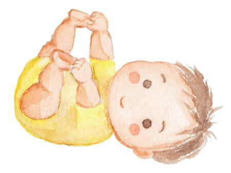 Watercolor illustration of baby grabbing her feet