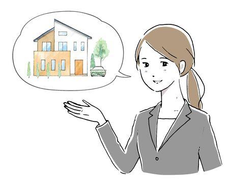 femme expliquant la maison