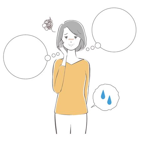 Illustration of a middle-aged woman who wants to go to toilet.