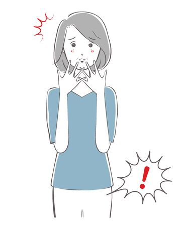 Illustration of a middle-aged woman who is surprised by a fart.