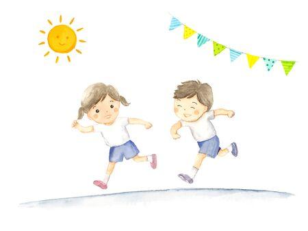 Illustration of children running at an athletic meet