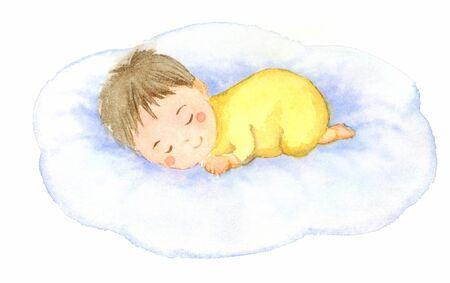 Watercolor illustration of sleeping baby.