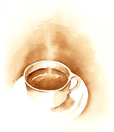 Watercolor illustration of coffee cup. 写真素材