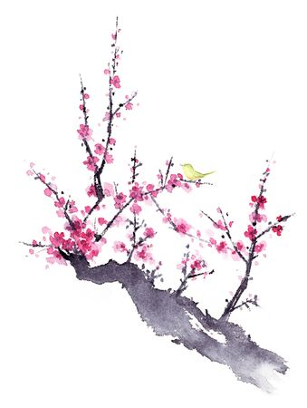 Ink painting of plum blossom and bird.
