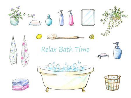 Ilustración acuarela de artículos de baño