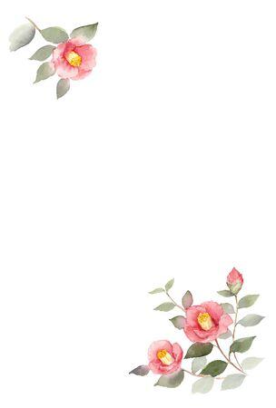 Camellia Illustration Postcard Template