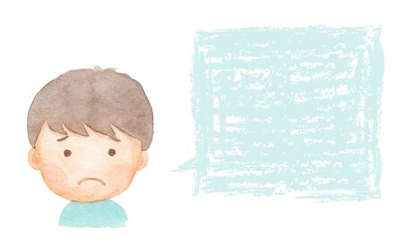 Watercolor illustration of boy in trouble Stock Photo