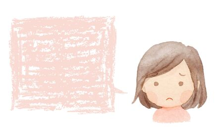 Watercolor illustration of girl in trouble Stock Illustration - 130848940