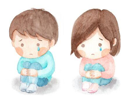 Watercolor illustration of kids holding knee Stock Illustration - 130848949