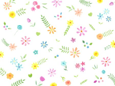 Watercolor illustrations of cute plant patterns