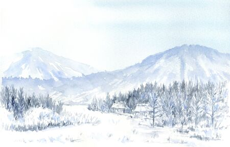 Watercolor illustration of snow landscape.