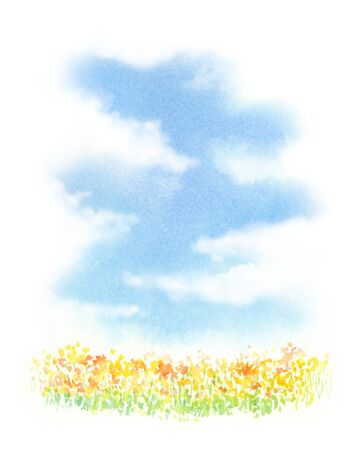 Watercolor illustration of flower field
