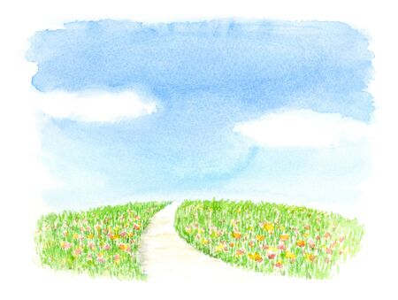 illustration of flower field Stok Fotoğraf