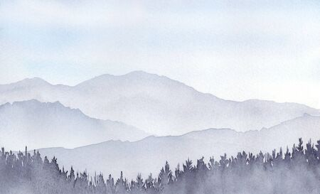 Watercolor illustration of mountain landscape.