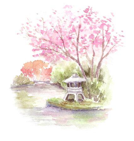 Watercolor illustration of Japanese garden 版權商用圖片