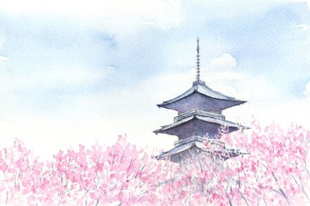 illustration of cherry blossoms and pagoda