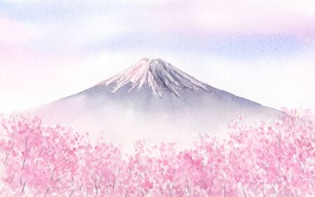 Watercolor illustration of Mount Fuzi and cherry blossoms