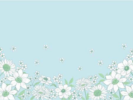 Line Art Flower Background Standard-Bild - 133450930