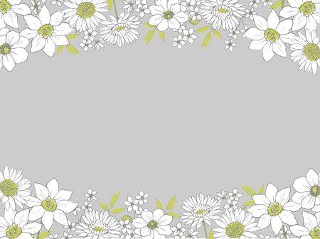 Frame of flower pen painting 向量圖像