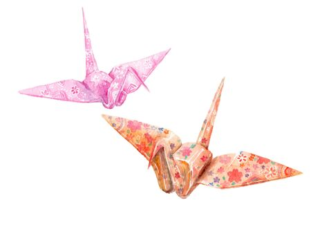 Watercolor illustration of a paper crane
