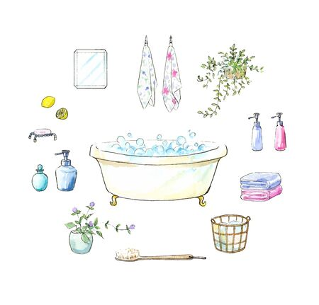 Watercolor illustration of bathroom items
