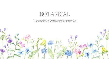 Aquarel illustratie van de bloementuin