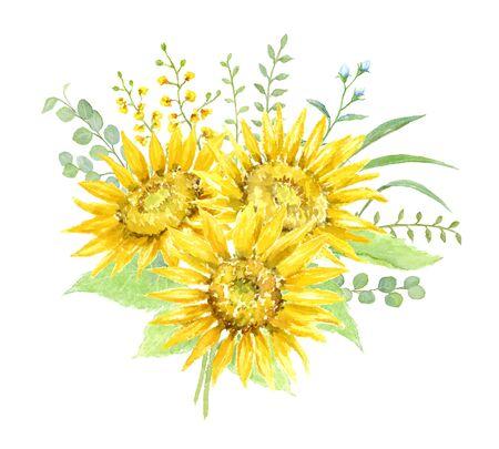Watercolor Illustration of Sunflowers Bouquet.