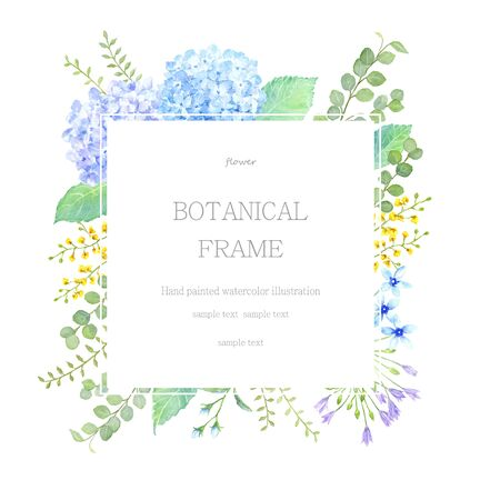 Plant frame painted by watercolor 写真素材