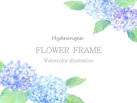 Hydrangea frame painted by watercolor
