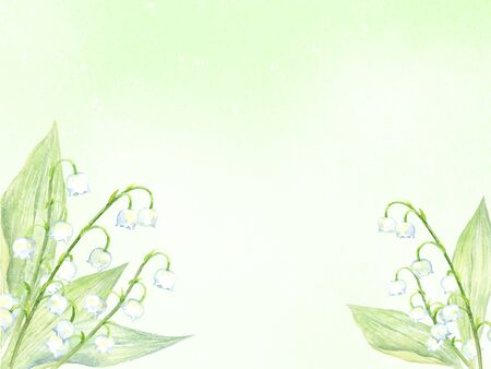 Lily of the valley background watercolor illustration 写真素材